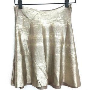 Zara Knit gold metallic fit & flare skirt mini
